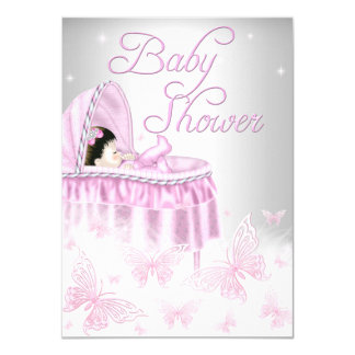 Pink & Silver Sparkle Butterfly Girl Baby Shower Card