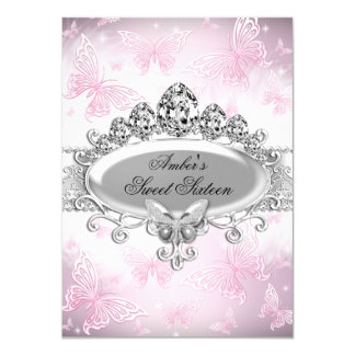 Pink Silver Sparkle Butterfly Sweet Sixteen 4.5x6.25 Paper Invitation Card