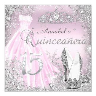 Pink & Silver Sparkle Dress & Tiara Quinceanera Card