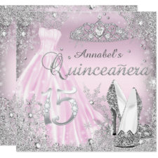 Pink Silver Sparkle Dress & Tiara Quinceanera Invitation