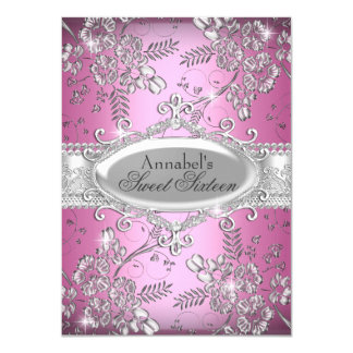 "Pink Silver Sparkle Flower Sweet 16 Invite 4.5"" X 6.25"" Invitation Card"
