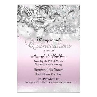 """Pink Silver Sparkle Masquerade Quinceanera Invite 5"""" X 7"""" Invitation Card"""
