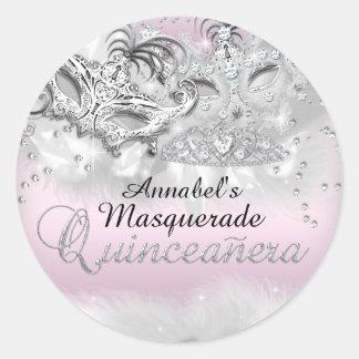 Pink Silver Sparkle Masquerade Quinceanera Sticker