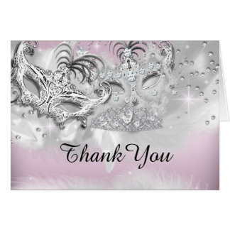 Pink & Silver Sparkle Masquerade Thank You Card