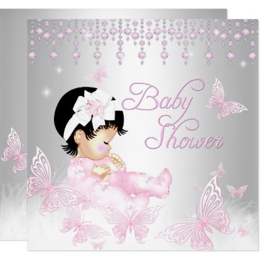 Toddler & Baby themed Pink Silver Sprinkle Butterfly Baby Shower Card