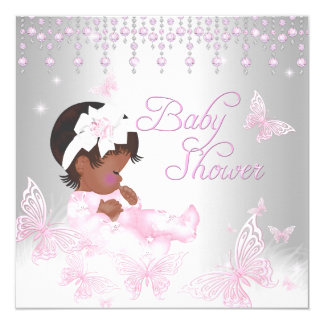Pink Silver Sprinkle Butterfly Baby Shower Ethnic Card