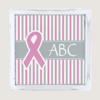 Pink & Silver Stripes custom lapel pin