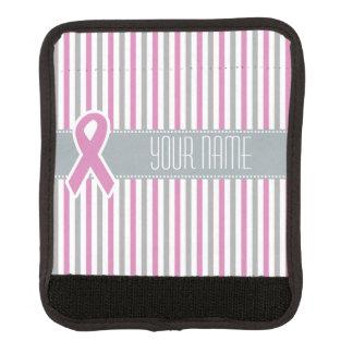 Pink & Silver Stripes custom luggage handle wrap