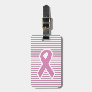 Pink & Silver Stripes custom luggage tag