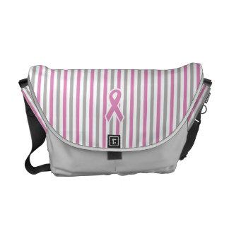 Pink & Silver Stripes custom messenger bag