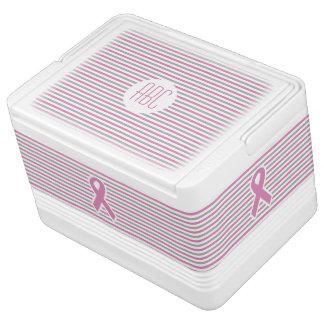 Pink & Silver Stripes custom monogram cooler