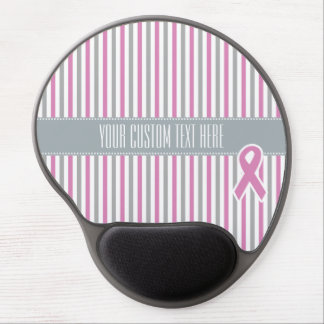 Pink & Silver Stripes custom mousepad Gel Mouse Pad