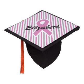 Pink & Silver Stripes custom name tassel toper Graduation Cap Topper