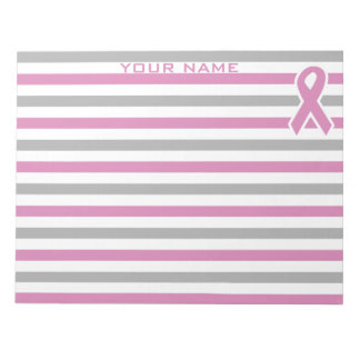Pink & Silver Stripes custom notepad