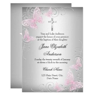 Pink Silver Swirl Butterfly Cross Baptism Invite