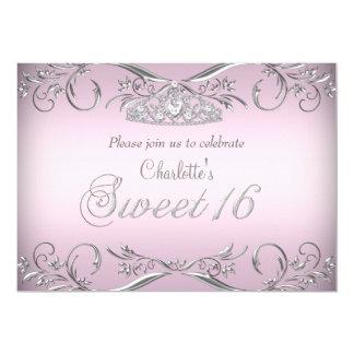 Pink Silver Tiara Sweet 16 Birthday Card
