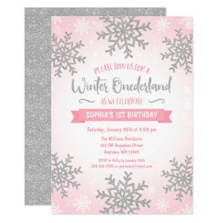 Pink Silver Winter Onederland 1st Birthday Invite at Zazzle