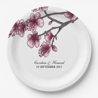 Pink Simple Cherry Blossoms Paper Plates