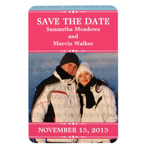Pink Simple Chic Photo Save the Date Magnet