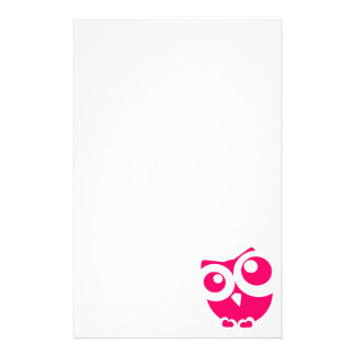 Pink Simple Owl Stationery