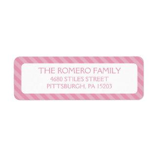 Pink Simple Stripes Custom Personalized Custom Return Address Label