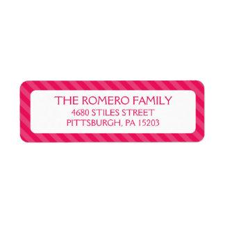Pink Simple Stripes Custom Personalized Custom Return Address Labels