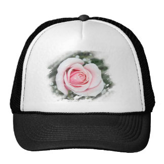 Pink Single Rose Faded and Rubbed Mesh Hat
