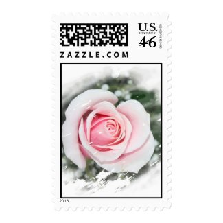 Pink Single Rose Faded and Rubbed stamp