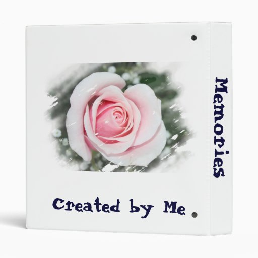 Pink Single Rose Faded and Rubbed Vinyl Binder