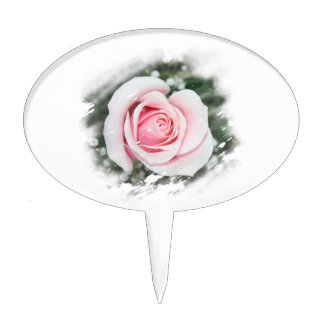Pink Single Rose rubbed Scratch Frame Cake Topper