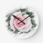 Pink Single Rose rubbed Scratch Frame Clocks