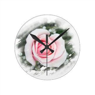 Pink Single Rose rubbed Scratch Frame Clocks