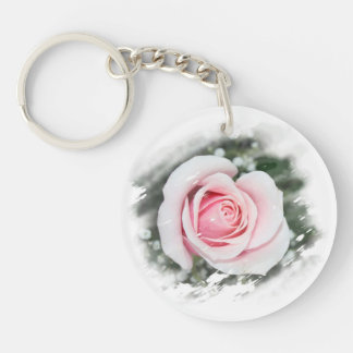 Pink Single Rose rubbed Scratch Frame Acrylic Key Chain