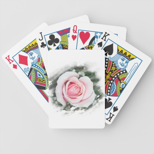 Pink Single Rose rubbed Scratch Frame Bicycle Playing Cards