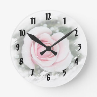 Pink Single Rose rubbed Scratch Frame Round Clocks