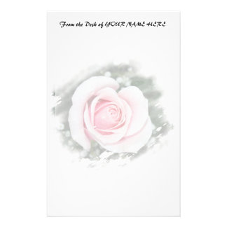 Pink Single Rose rubbed Scratch Frame Stationery