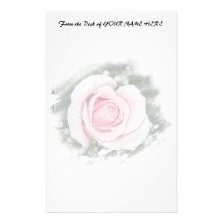 Pink Single Rose rubbed Scratch Frame Customized Stationery