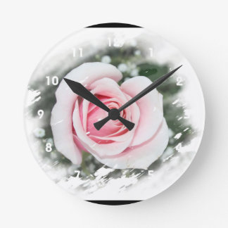 Pink Single Rose rubbed Scratch Frame Wall Clock