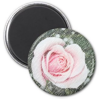 Pink Single Rose Scratched and Faded magnet