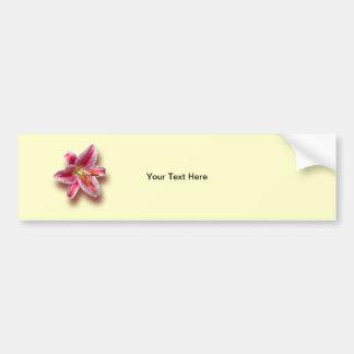 Pink Single Stargazer Lily Bumper Sticker