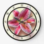 Pink Single Stargazer Lily Large Clock