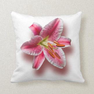 Pink Single Stargazer Lily Throw Pillow