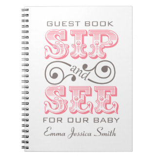 Pink Sip And See Celebration Register Book Notebook