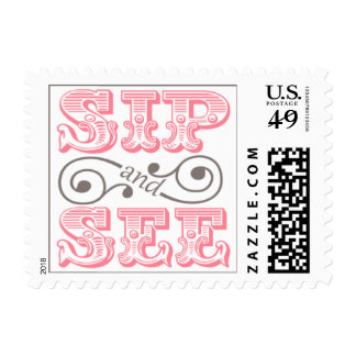 Pink Sip And See Meet The New Baby Stamps