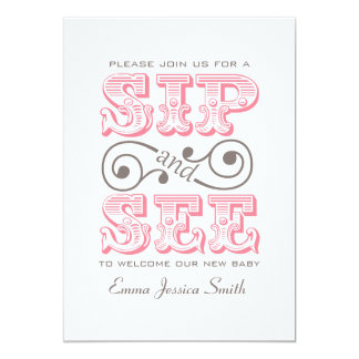 Pink Sip And See Party | It's A Girl Card