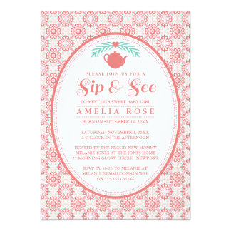 Pink Sip & See Tea Party Invitation
