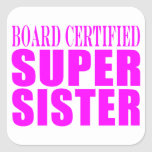 Pink Sisters Birthdays & Christmas : Super Sister Square Stickers