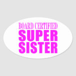 Pink Sisters Birthdays & Christmas : Super Sister Oval Stickers