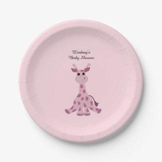 Pink Sitting Giraffe Baby Shower 7 Inch Paper Plate