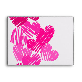 Pink sketchy Hearts Envelope